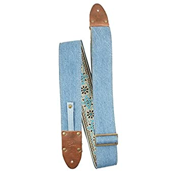 LM Products VD-LB Vintage Denim Guitar Strap, The Mom Jean