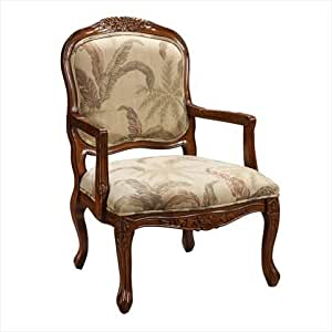 Coast To Coast Traditional Living Room Accent Arm Chair With Tropical Cream Floral