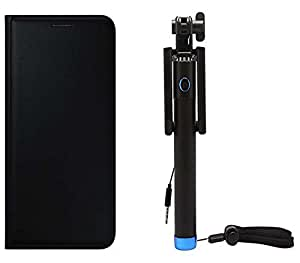 Novo Style Oppo Neo 5 Premium PU Leather Quality Black Flip Cover + Wired Selfie Stick No Battery Charging Premium Sturdy Design Best Pocket Sized Selfie Stick