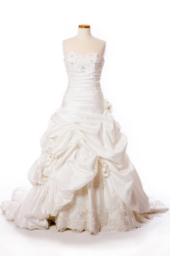 Taffeta Wedding Dress with Pick-Up Skirt, Beaded Lace, and Embellished Flowers