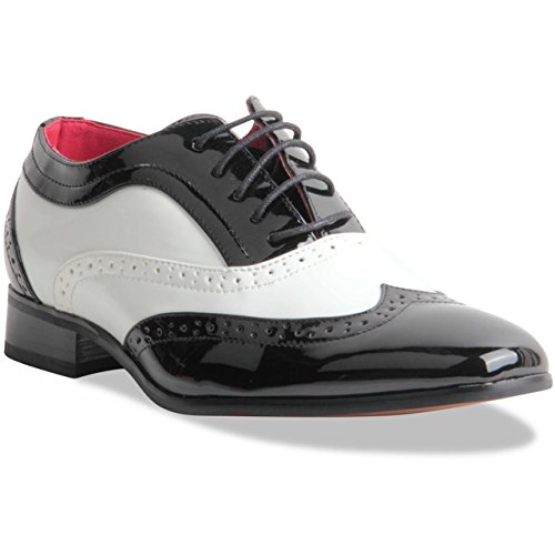 Mens Two Tone Black & White Lace-up Brogues by Collezione Italiana.