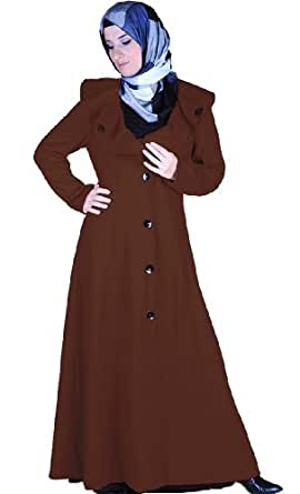 Albany Brown Wool Coat Long Islamic Clothing at Amazon Women's Coats