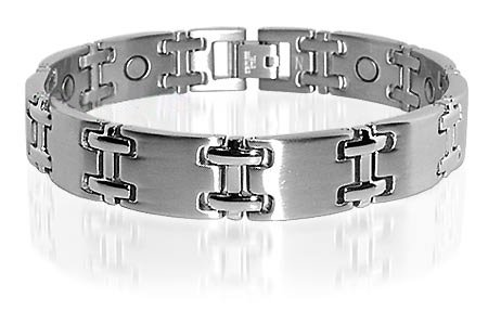 Stainless Steel Mens Magnetic Silver Tone Bracelet 8.5″