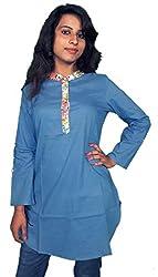 Miraaya Women's Cotton Kurta (M2447A_79569, Blue, M)