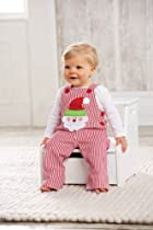 Mud Pie Baby-Boys Infant Santa Overall, Multi Colored, 0-6 Months