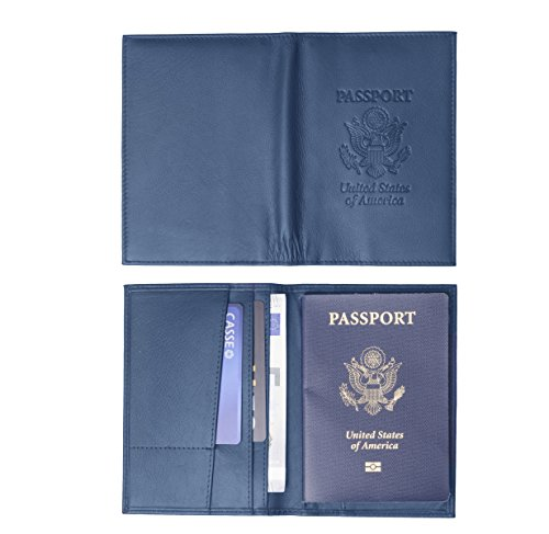 Genuine Leather USA Great Seal Passport Wallet, Case, Holder, Cover (Navy Blue)