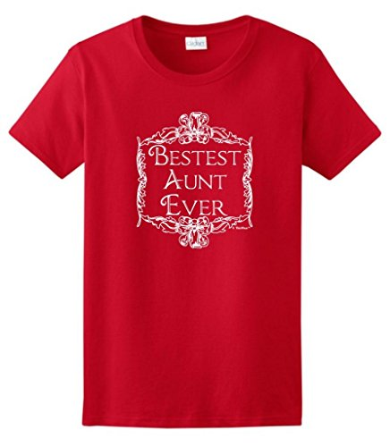 Bestest Best Aunt Ever, Aunt Gift Cute Ladies T-Shirt Large Red