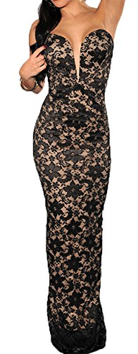 made2envy Plunging V Neck Lace Nude Illusion Gown (L, Black) C6328L