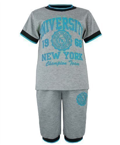 Kids Top & Shorts Set Style V-029B In Grey/Turquoise 7-8 Years