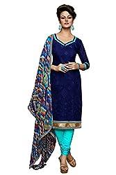 Fashions World Fancy Blue Chanderi Dress Material