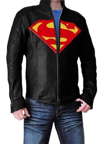 TRENDY OUTFITTERS Superman-Giacca da uomo, in pelle nero XXL