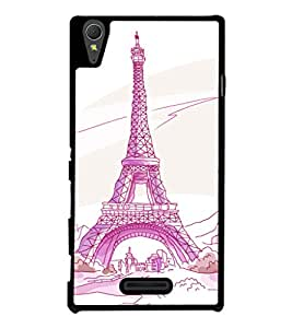 printtech Paris Tower Sketch Cartoon Back Case Cover for Sony Xperia T3