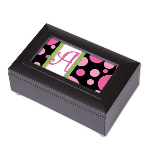 Monogram Pink Fizz Letter A Petite Black Music Box Plays Wonderful World