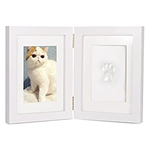 """Personalized Dog or Cat Pet Memorial Frame Paw Prints Desk Photo Frame Modern Wall Hanging Double Picture Frames with Clay Imprint Kit Perfect Pets Keepsake - 5"""" x 7"""" or 4"""" x 6"""""""