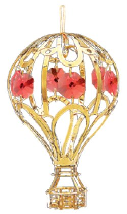 24k Gold Balloon Ornament… with Red Swarovski Crystal