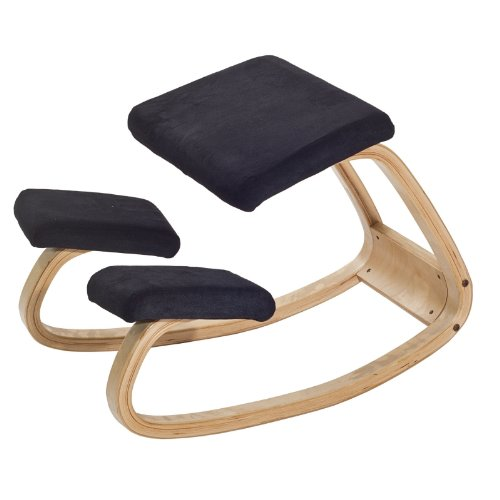LexMod Balance Active Seating Circulation Chair in Black Fabric / Natural