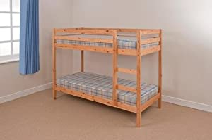 2ft6 Small Single Wooden Bunk Bed in Natural Pine Zara