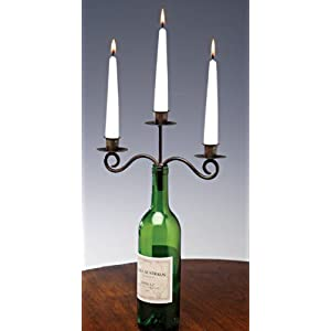 wedding reception decoration ideas wine bottle triple arm candleabra