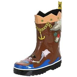 Kidorable Pirate Rain Boot , Brown, 11