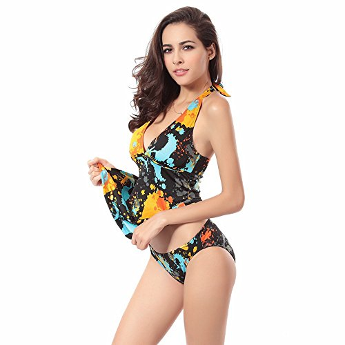 Gritu Women's Floral Print One Piece Swimwear Swimsuit Beachwear Black XL