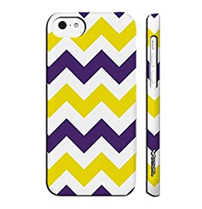 Apple IPhone 5 C CHEVRON YELLOW AND PURPLE designer mobile hard shell case by Enthopia