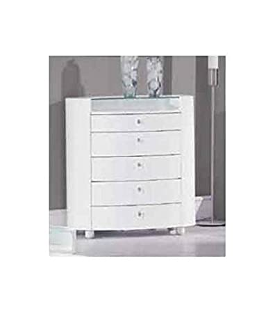 5 Drawer Chest w Glass Top in White Finish