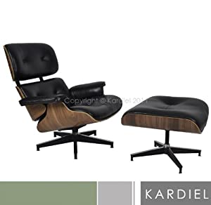 Kardiel Eames Style Plywood Lounge Chair & Ottoman, Black Aniline/Walnut