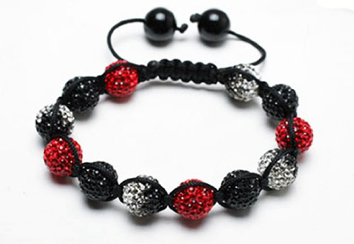 Red Devil Shamballa Bracelet | Red Shamballa Bangle | Red and Black shamballa crystal pave argil beads (by BAGATI CRYSTO)