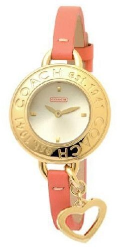 Coach women's bangle watch Phoebe collection Gold bezel with pink leather strap 14501324