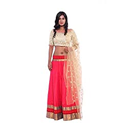 Pink raw silk lehenga and golden stone embroidered blouse with beige net duppatta