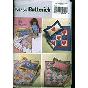 Doll  Quilt Pattern on Amazon Com  Butterick B4538 Doll Bed And Quilts For 18 Inch Dolls Like