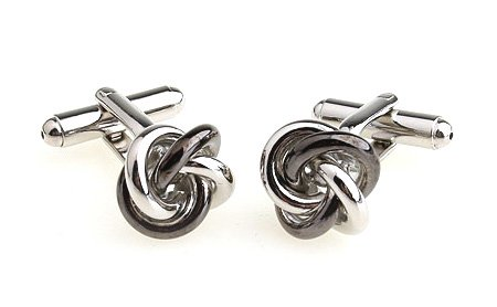 Solid Heavy Silvertone Secure Toggle Back Cufflinks Knot Design