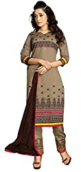Kallpam Fashion Women's Grey Chanderi Dress Material