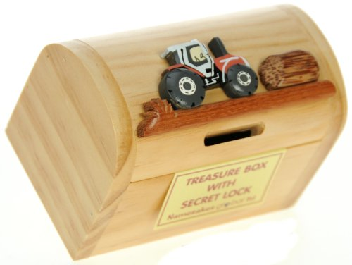 Red Tractor Money Box Treasure Chest with Secret Lock - Handcrafted Wooden Gift Idea. Quality Traditional Present For Children & Fun Loving Adults! 30+ Designs (Size 12x9x7cm)