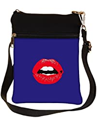 Snoogg Red Lips Kiss Cross Body Tote Bag / Shoulder Sling Carry Bag