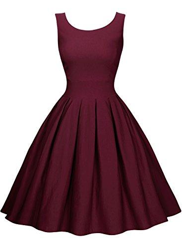 Miusol Women's Cut Out Vintage Polka Dot Optical Illusion Bridesmaid Swing Dress (Large, Wine Red)
