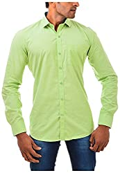 Casinova Men's Cotton Casual Shirt (2035_C-Medium, Green, Medium)