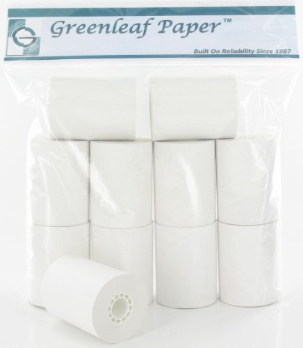 Greenleaf Calculator POS Receipt Thermal Paper Rolls (10 Rolls – White) – 2 1/4 Inch x 80 ft – Used in Seiko / VeriFone / Epson / Sharp / Casio / Hypercom POS Printers, Cash Registers and CC Terminals