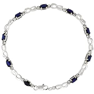 10k White Gold Double Loop Tennis Bracelet w/ 0.05 Carat Brilliant Cut Diamonds & 2.25 Carats Oval Cut Created Blue Sapphire Stones, 1/8 in. (3.5mm) wide