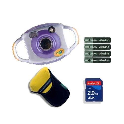 Crayola 2.1MP Digital Camera Purple with 2GB Accessory Bundle