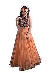 BMR Distinctive Orange Net Embroidered Work Designer Gown