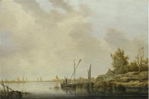 Oil Painting 'Aelbert Cuyp - A River Scene With Distant Windmills,about 1640-2' Printing On Perfect Effect Canvas , 8x12 Inch / 20x30 Cm ,the Best Bedroom Gallery Art And Home Decor And Gifts Is This High Quality Art Decorative Canvas Prints (Winds And The Waves Dean Hughes compare prices)