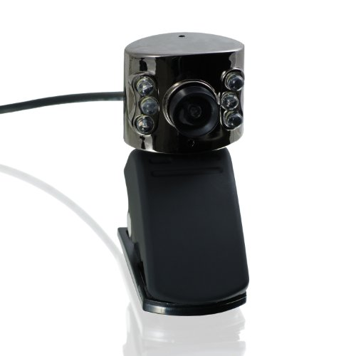 CSL - USB Webcam inkl. Mikrofon mit 6 LEDs HD + Lichtsensor | (interpoliert 12 MP) | Plug & Play | PC + Notebook | Skype/MSN/ICQ/YAHOO/AIM