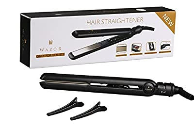 Wazor Hair Flat Iron Pro 1 Inch Ceramic Flat Iron Negative Ionic Hair Straightener Dual Voltage For Worldwide Use With Temp Setting And Auto Shut Off Black