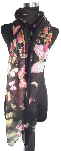 Large Black Butterfly Chiffon Scarf or Sarong