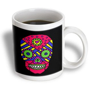 All Smiles Art Abstract - Fun Colorful Gothic Skull With Back Background - Mugs - 15Oz Mug - Mug_200487_2
