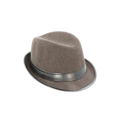 Faddism GHAT58BN01 Men's Wool Felt Gentleman Brown Design Fedora Hat