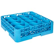 "Carlisle RW2014 OptiClean NeWave 20-Compartment Glass Rack w/ Integrated Extender, Polypropylene, 20.88"" Length, 20.88"" Width, 5.83"" Height, Blue (Case of 4)"