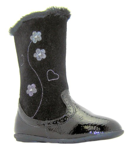 Rsb Girls Tickle Black Floral Flower Print Zip Up Mid Calf Boots