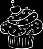 Wandaufkleber Tattoo Wanddeko Deko für Küche Muffin Gebäck Cupcake Kirsche (114x100cm//010 weiss)